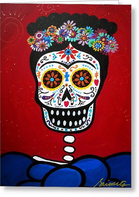 Unibrow Greeting Cards - Frida Kahlo Greeting Card by Pristine Cartera Turkus