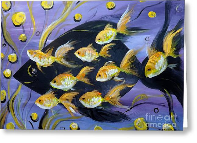 Greeting Cards - 8 Gold Fish Greeting Card by Gina De Gorna