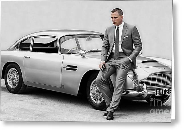 Celebrity Greeting Cards - James Bond Collection Greeting Card by Marvin Blaine