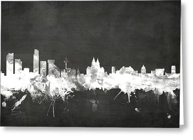 Blackboard Greeting Cards - Liverpool England Skyline Greeting Card by Michael Tompsett