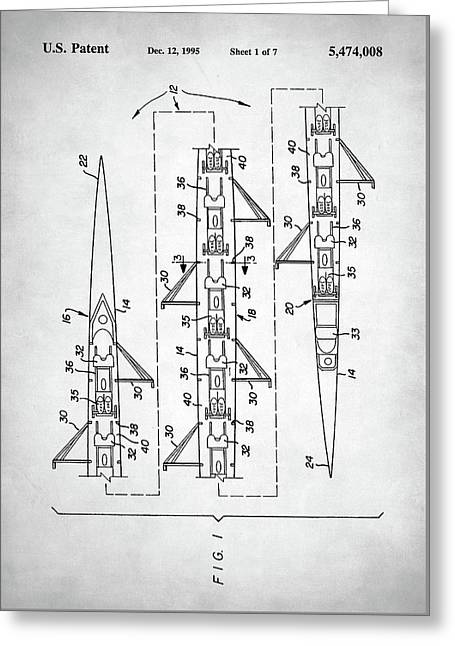 8 Man Rowing Shell Patent Greeting Card by Taylan Apukovska