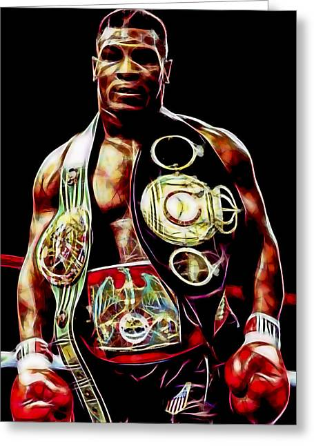 Recently Sold -  - Glove Greeting Cards - Mike Tyson Collection Greeting Card by Marvin Blaine