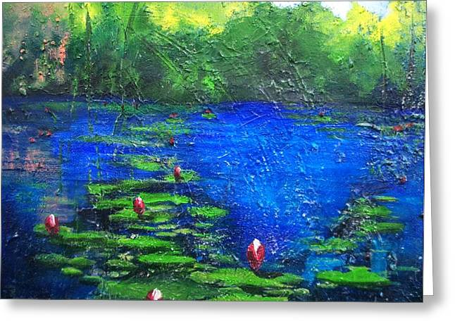 8 Mile Greeting Cards - 8 Mile Creek Lagoon - Bajool - original sold Greeting Card by Therese Alcorn
