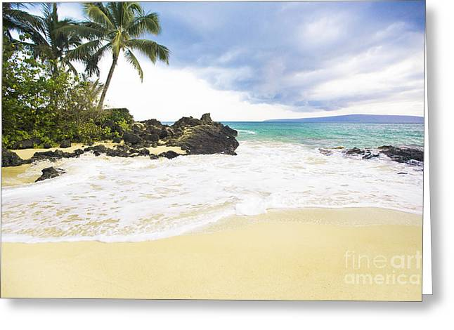 My Ocean Greeting Cards - Paako Beach Makena Maui Hawaii Greeting Card by Sharon Mau