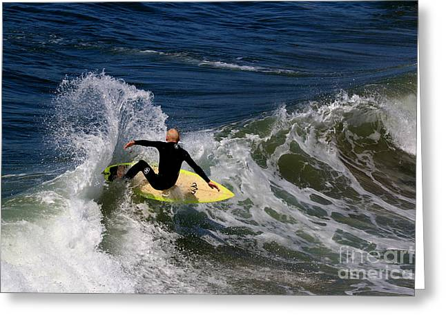 Wipe Out Greeting Cards - Pismo Beach Surfing Greeting Card by Craig Corwin