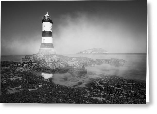 Halogen Greeting Cards - Penmon Lighthouse Greeting Card by Ian Mitchell