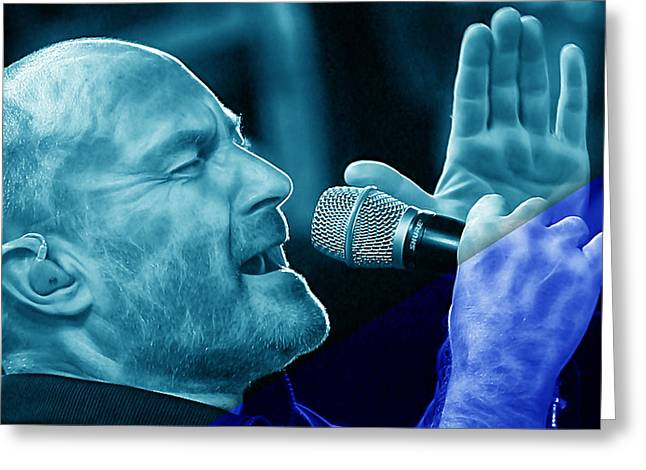 80s Mixed Media Greeting Cards - Phil Collins Collection Greeting Card by Marvin Blaine