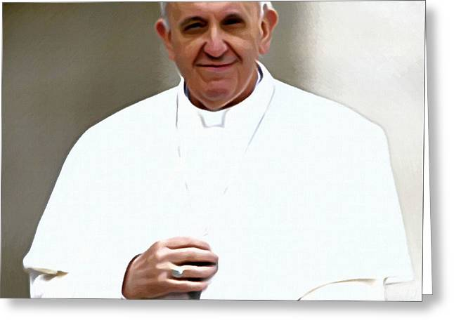 Biographies Greeting Cards - Pope Francis Portrait Greeting Card by Victor Gladkiy