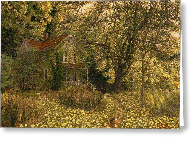 Sun Rays Paintings Greeting Cards - Primrose Path Greeting Card by Doug Kreuger