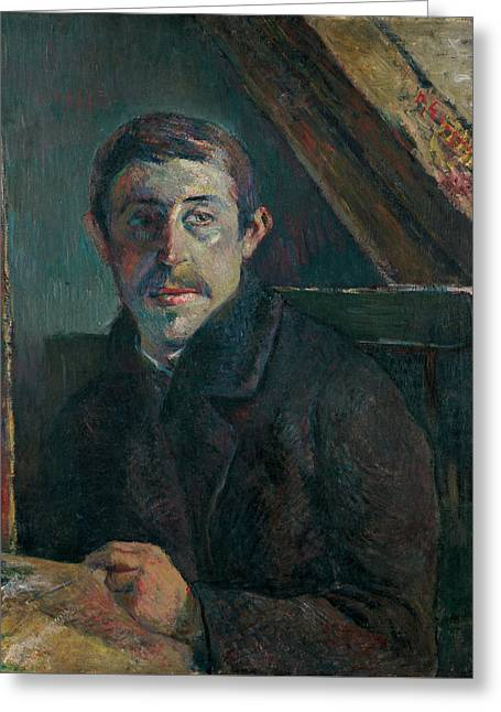 Gauguin Style Greeting Cards - Self Portrait Greeting Card by Paul Gauguin