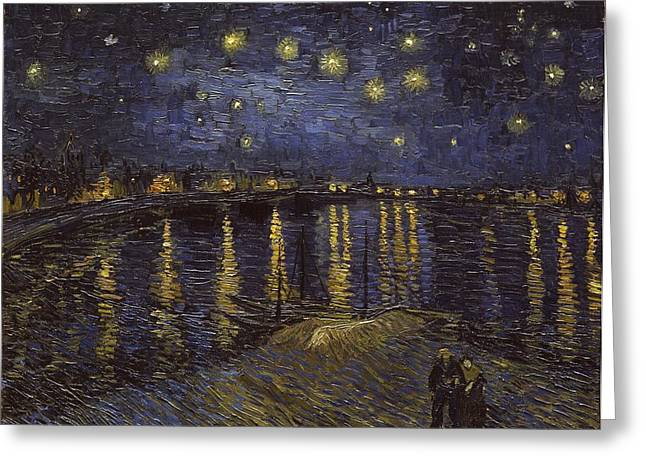 Starry Night Greeting Cards - Starry Night Over The Rhone Greeting Card by Vincent van Gogh