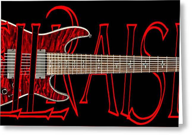 Hellraiser Greeting Cards - 8 String Guitar-Schecter Hellraiser Greeting Card by Brian Yasumura Jr