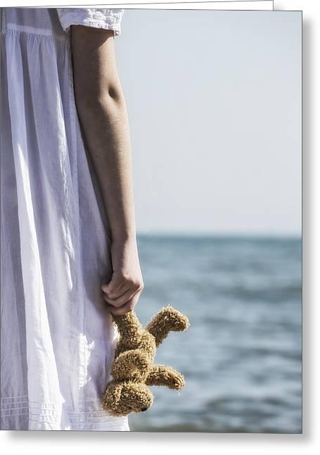 Waiting Girl Greeting Cards - Teddy Bear Greeting Card by Joana Kruse