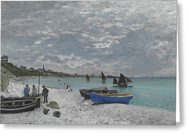 Sailboat Art Greeting Cards - The Beach at Sainte Adresse Greeting Card by Claude Monet