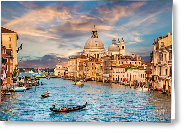 Italian Sunset Greeting Cards - Venice Sunset Greeting Card by JR Photography