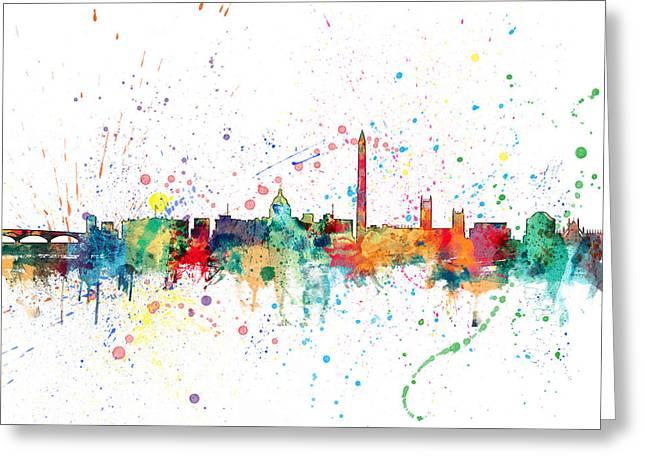 Washington Dc Skyline Greeting Card by Michael Tompsett