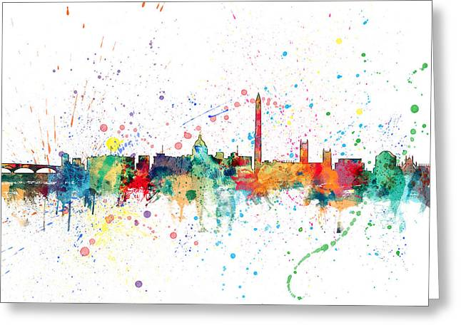 Cityscape Digital Art Greeting Cards - Washington DC Skyline Greeting Card by Michael Tompsett