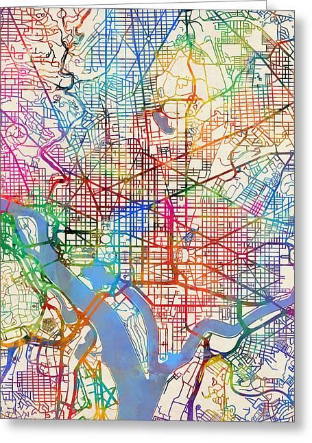 Washington Dc Street Map Greeting Card by Michael Tompsett