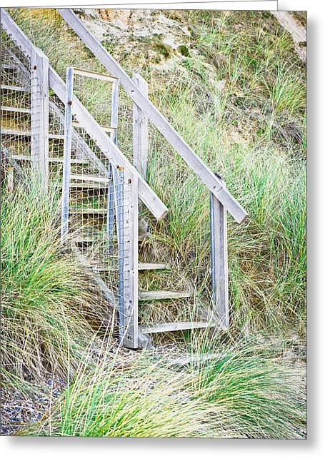 Staircase Greeting Cards - Wooden steps Greeting Card by Tom Gowanlock