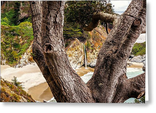 Pfeiffer Beach Greeting Cards - 80-foot Waterfall  Greeting Card by Maria Coulson