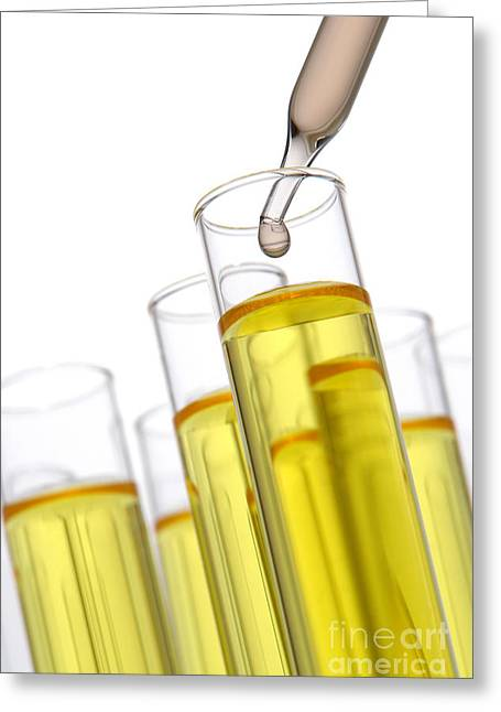 Experiment Photographs Greeting Cards - Test Tubes in Science Research Lab Greeting Card by Olivier Le Queinec