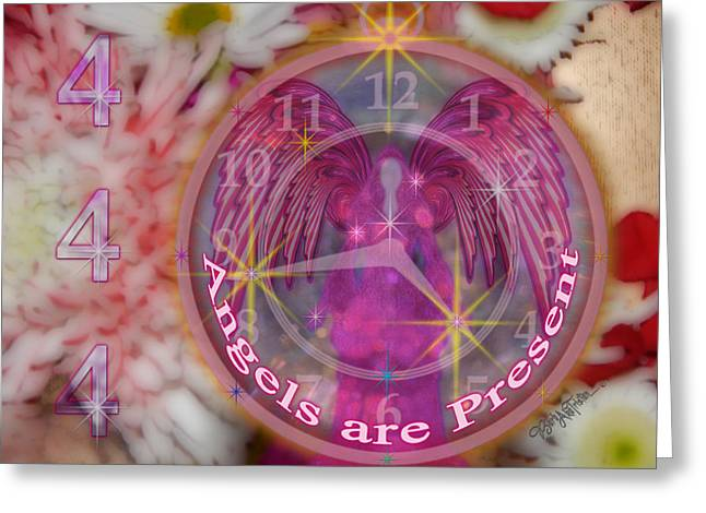 #8913_444 Angels Are Present  Greeting Card by Barbara Tristan