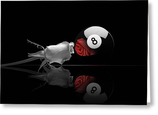 8ball Greeting Cards - 8bw Greeting Card by Draw Shots