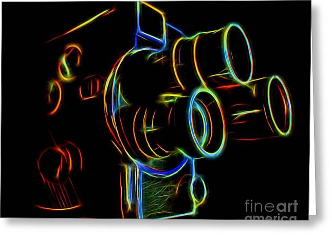 8mm In Neon Greeting Card by Mark Miller