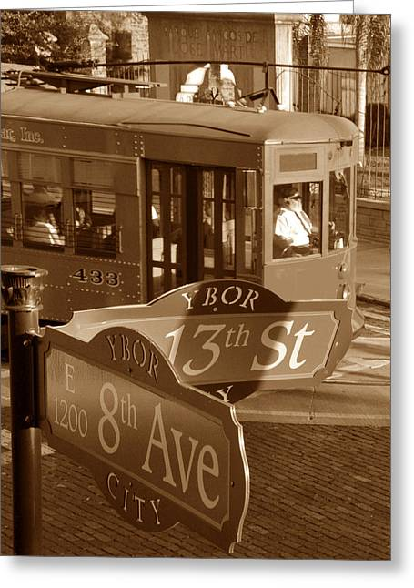 Ybor City Greeting Cards - 8th Ave Trolley Greeting Card by David Lee Thompson