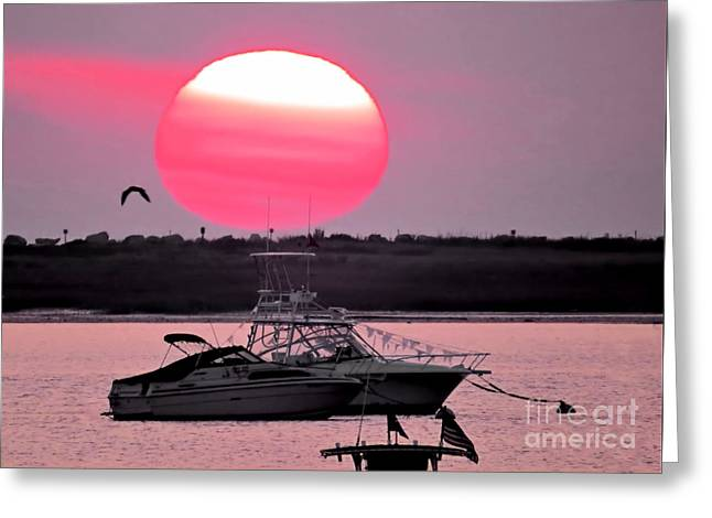 New England Ocean Greeting Cards - 9 01 15 Sunrise Greeting Card by Janice Drew