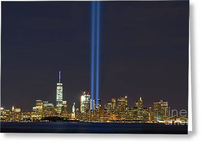 9-11 Nyc Skyline  Greeting Card by Jerry Fornarotto