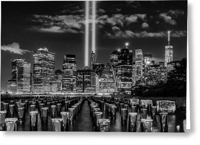 9/11 Tribute Lights - Bw Greeting Card by Nick Zelinsky