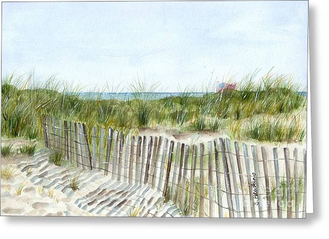 Sand Dunes Paintings Greeting Cards - 9-12-2001 Greeting Card by Sheryl Heatherly Hawkins