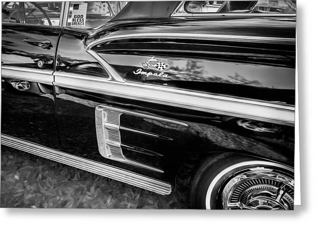 Detroit Cars Greeting Cards - 1958 Chevrolet Bel Air Impala Painted BW    Greeting Card by Rich Franco
