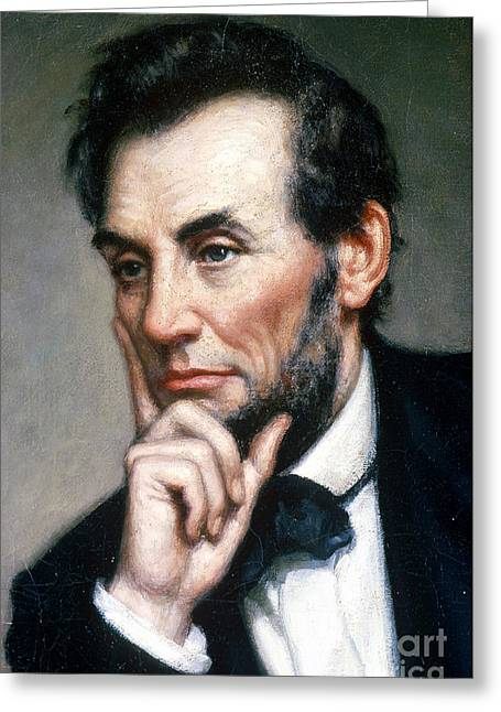 15th Amendment Greeting Cards - Abraham Lincoln 16th American President Greeting Card by Photo Researchers