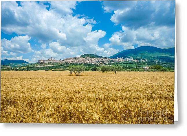 Historic Architecture Greeting Cards - Ancient town of Assisi, Umbria, Italy Greeting Card by JR Photography