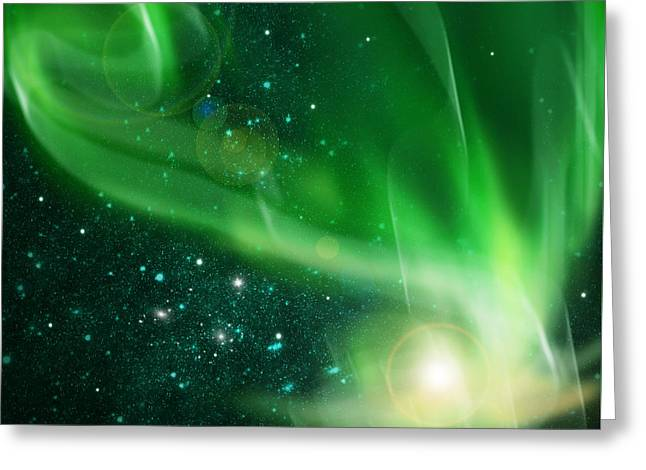 Dark Peak Greeting Cards - Aurora Borealis Greeting Card by Setsiri Silapasuwanchai
