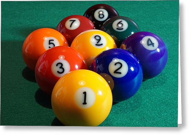 Billiards Digital Greeting Cards - 9 Ball Rack Greeting Card by David G Paul