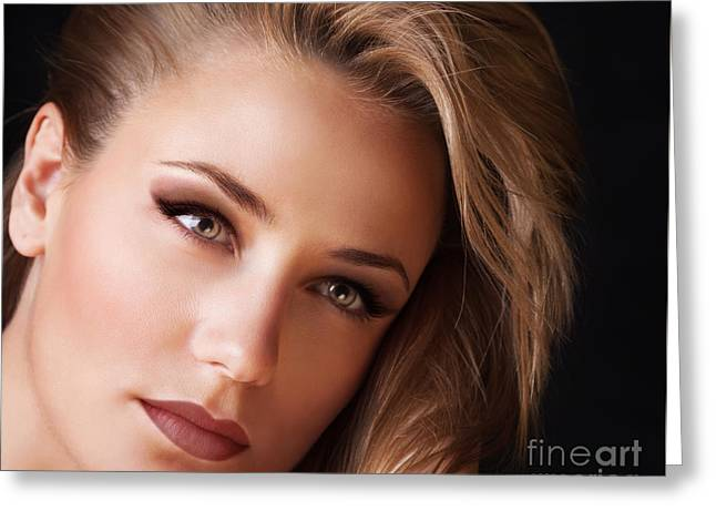 Person Greeting Cards - Beautiful woman portrait Greeting Card by Anna Omelchenko