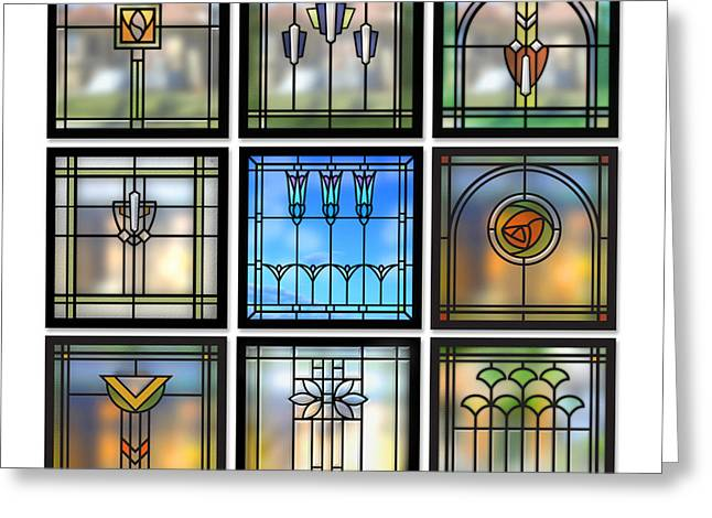 Bungalow Greeting Cards - 9 Bungalow Windows Greeting Card by Geoff Strehlow