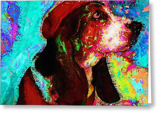 Dog Prints Greeting Cards - Dog Portrait Art Print Greeting Card by Victor Gladkiy