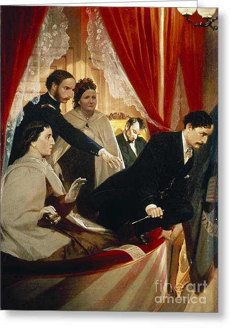 Presidents Wives Greeting Cards - Lincoln Assassination Greeting Card by Granger