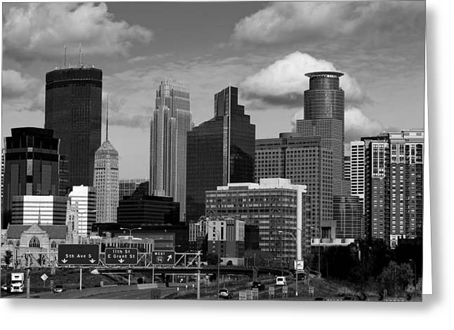 Exit Sign Greeting Cards - Minneapolis Skyline Greeting Card by Mountain Dreams