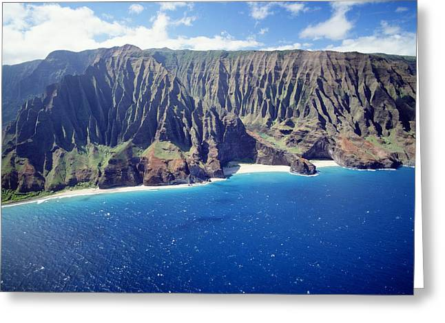Mountainside Art Greeting Cards - Na Pali Coast Greeting Card by Peter French - Printscapes