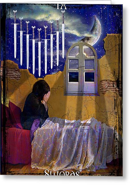 Divine Feminine Greeting Cards - 9 of Swords Greeting Card by Tammy Wetzel