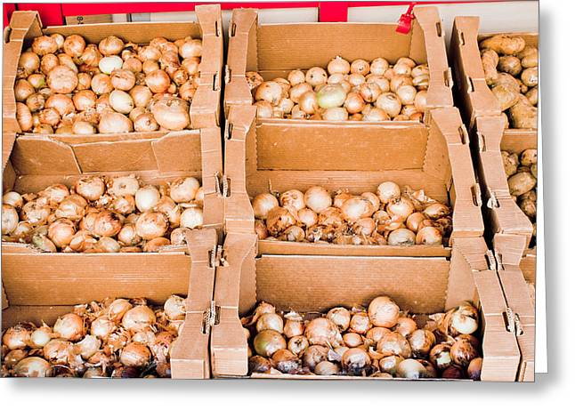 Local Food Greeting Cards - Onions Greeting Card by Tom Gowanlock