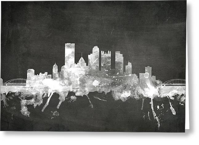 Blackboard Greeting Cards - Pittsburgh Pennsylvania Skyline Greeting Card by Michael Tompsett