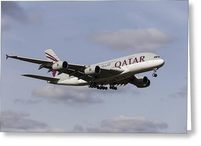Qatar Airlines Airbus A380 Greeting Card by David Pyatt