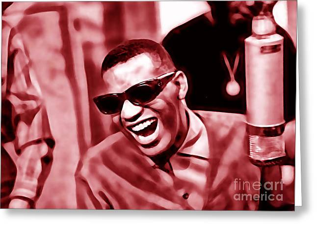 Pop Singer Greeting Cards - Ray Charles Collection Greeting Card by Marvin Blaine