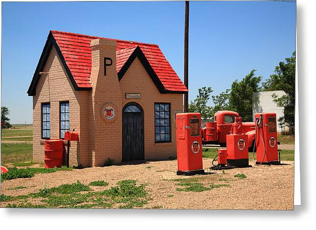 Mclean Greeting Cards - Route 66 - Phillips 66 Gas Station Greeting Card by Frank Romeo